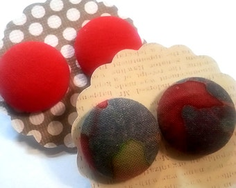 Red Blue Button Earrings