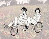 Portlandia characters Peter and Nance on a tandem bike gift card