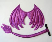 Purple Dragon Wings and Tail SET, Metallic purple dragon,  wire free, dragon costume, dress up play, cosplay dragon, Halloween costume
