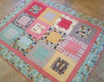 Sasparilla Quilt Baby or Lap Size -- cowboy, red, blue, cream, yellow