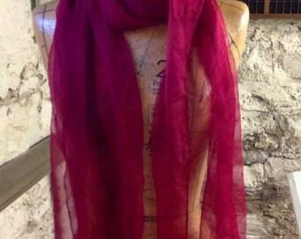 Extra long red wine Silk gauze Scarf for Nuno Felting