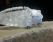 Gemstone Earrings, Artisan Jewelry, Handcrafted Earrings, Blue Lace Agate  Earrings, Light Blue Round Earrings, Sterling Silver