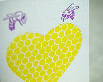 SALE Letterpress Valentine Love card - Bee Mine - 60% off