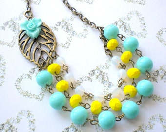 Turquoise Necklace Summer Bridesmaid Necklace Beach Wedding Jewelry Yellow Necklace Tropical Necklace Turquoise Statement Necklace