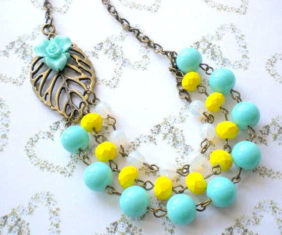 Turquoise Necklace Summer Bridesmaid Necklace Beach Wedding