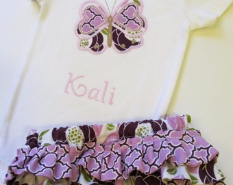 Butterfly Bodysuit and Ruffled Diaper Cover Set- Butterfly Diaper Cover Set-Personalized Bodysuit- Ruffled Diaper Cover
