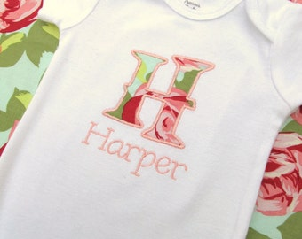 Personalized Embroidered Initial Bodysuit- Baby Girl Bodysuit- Personalzied Bodysuit