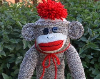 Sock Monkey Golf Club Cover or Golf Head Available in Brown Choice of Hat