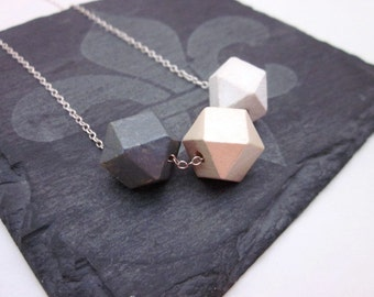 Grey & White Bead Necklace -- Painted Wood Necklace -- Pale Bead Necklace -- Grey White Gold Necklace -- Geometric Bead Necklace -- Neutral