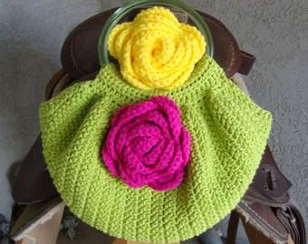 Handmade Crochet Bag Purse Lime Green Cotton Fat Bottom Bag