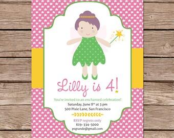 fairy birthday invitation / fairy party invites / birthday party invite / printable file or printed cards