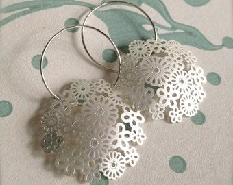 Elegant silver filigree dangle earrings, large lightweight earrings, elegant earrings, bridal earrings