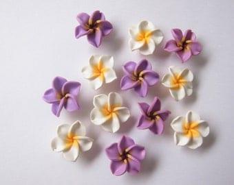 10 pcs Plumeria Frangipani Flower Polymer Clay Beads/Flatback 25mm