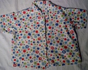 Vintage Toddler Girls Button Up Colorful Dot  Line Pattern Juvenile Kids Shirt  (50 % OFF APPLIED)