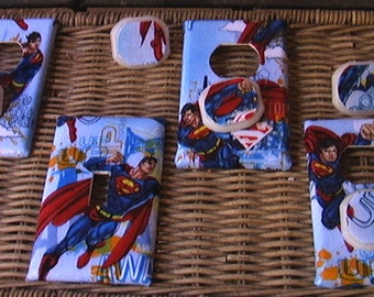 Superman Set Single Switch Plate Cover and 3 Outlets includes child safety plugs