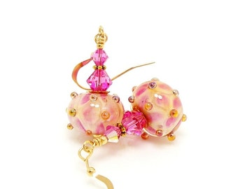 Pink Earrings, Lampwork Earrings, Glass Earrings, Glass Bead Earrings, Beadwork Earrings, 14K Gold Filled Earrings, Unique Earrings