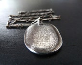 Fingerprint Necklace. Personalized Fingerprint Jewelry. Fine Silver Fingerprint Pendant. Fingerprint Jewelry