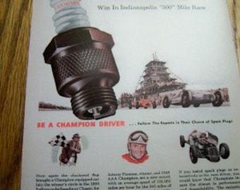 1950 Champion Spark Plug Ad Indianapolis 500 Johnny Parsons nascar