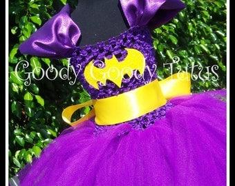 I'M BATGIRL Batman Inspired Tutu Dress in Purple - Up to 4-6t