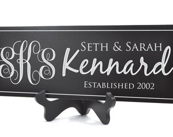 Personalized Family Name Sign Plaque Established Sign Last Name Sign 8x24 Carved Engraved Vine Monogram