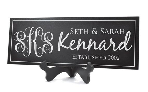 Personalized Family Name Sign Plaque Established Sign Last Name Sign 8x24 Carved Engraved Vine Monogram