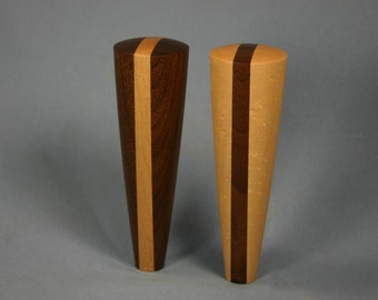 Wood Beer Tap Handle Pair of Opposites - 5.5 inches tall - Made to Order from Maple and Walnut