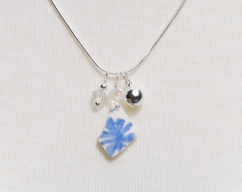 Singing Sea Glass Charm Necklace Surf Tumbled Pottery with Crystal and Bell 6726