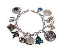 1950s Christmas Theme Sterling Silver vintage Charm Bracelet Santa Clause, Holly, The Bible, etc.