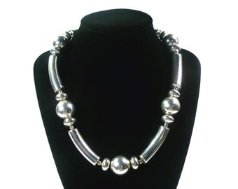 Vintage 1980s Chunky Silver Statement Choker Necklace Large Beads