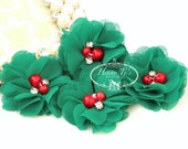 NEW: 4 pcs Aubrey EMERALD GREEN w/ Red Pearl - Soft Chiffon with pearls and rhinestones Layered Small Fabric Flowers, Hair accessories