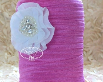 "5/8"" Shiny BUBBLEGUM PINK Fold Over Elastic Headband Elastic - 5 or 10 yds Solid FOE - Elastic Hair Ties Headband Supplies"