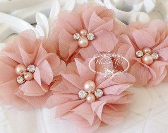 """NEW: 4 pcs Aubrey DUSTY PEACH - 2"""" Soft Chiffon with pearls and rhinestones Layered Small Fabric Flowers, Hair accessories"""