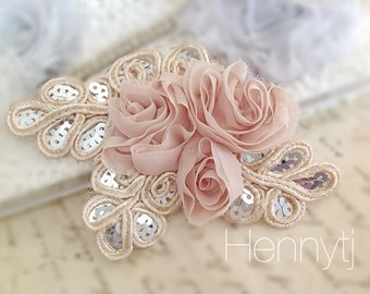 """NEW: """"BEIGE nude"""" Chiffon and Sequins Leaf Polyester Fabric Rose Appliques. Hair accessories"""