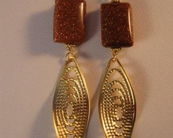 Gemstone Gold Earrings;filigree earrings,gold earrings,gemstone earrings,drop earrings,dangle earrings,goldstone earrings,earrings,jewelry