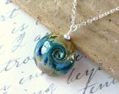 Wave Necklace, Beach Jewelry, Ocean Wave Lampwork Pendant, Surf & Sand Blue Lampwork Glass Lentil, Sterling Silver, Sea, Nautical Jewelry