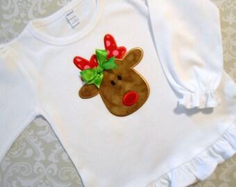 Reindeer Christmas Ruffle Shirt: Free Personalization Short or Long Sleeve Choose your Fabrics