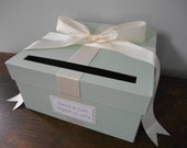 Custom Wedding Card Box Mint Green and Ivory Ribbon Bow and Personalized Tag Can Customize Flowers and Colors