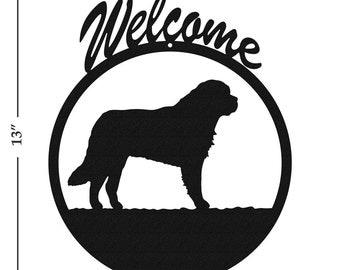 Dog Saint Bernard Black Metal Welcome Sign