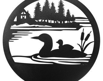 Hand Made Loon Duck Scenic Art Wall Design *NEW*