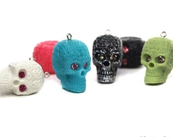 Day of the Dead Skull Pendant with Crystal eyes Skeleton 18mm x 28mm 15 color Options
