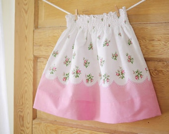 Girls M (5/6) Vintage Floral Pillowcase Skirt- 1950's Pink Rosebud Floral- Girls Spring Fashion