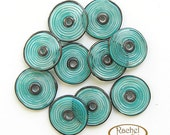 Lampwork Glass Disc Beads, FREE SHIPPING, Handmade Teal Glass Spiral Disc Beads - Rachelcartglass