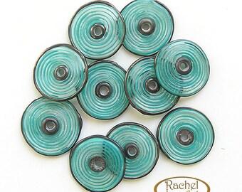 Lampwork Glass Disc Beads, FREE SHIPPING, Handmade Teal Glass Spiral Disc Beads - Rachelcartglass