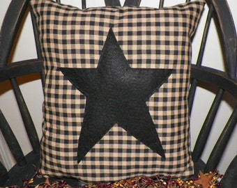 UNSTUFFED Primitive Pillow Cover Black Barn Star Prim Country Rustic Home Decor Decoration Stitchery Early Colonial Style Rustic wvluckygirl