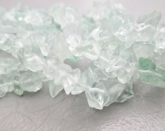 Light Green GLASS Chips Full Strand 32 inches 5-8mm (Item Number LG312M)