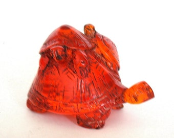 Vintage Japanese amber netsuke -Baby Turtles on Mother Turtle,signed by artist