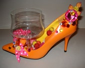 shoe candy dish 60s Mod Orange Pump