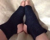 Felted Yoga Socks Women Charcoal Gray Pilates Socks Upcycled Wool Sweater