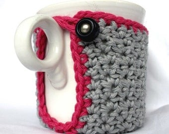 Mug Cozy, Cup Cosy and Coaster Crochet Gray and Pink with Vintage Button