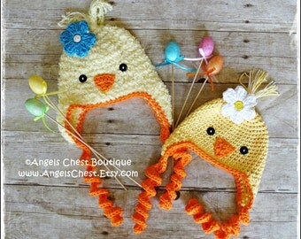 Crochet CHICK-A-DEE BIRD Beanie Earflap Hat Pdf Pattern Sizes Newborn to Adult Boutique Design - No. 68 by AngelsChest
